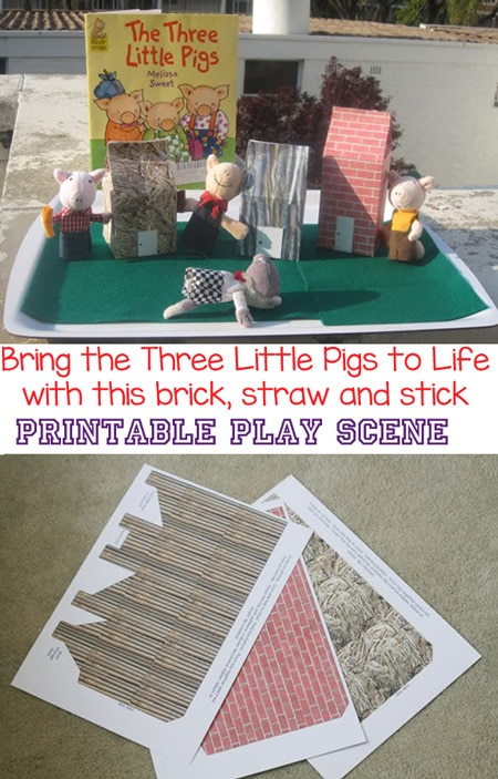 This preschool craft and play activity bring the story of the Three Little Pigs to life. Kids will love retelling and sequencing this story from toddlers, kindergarten and even elementary. Add this sensory bin to a themed party. This wonderful play scene of printable brick, straw and stick houses. is a wonderful activity for story time and enhances storytelling. Add finger puppets for more fun!