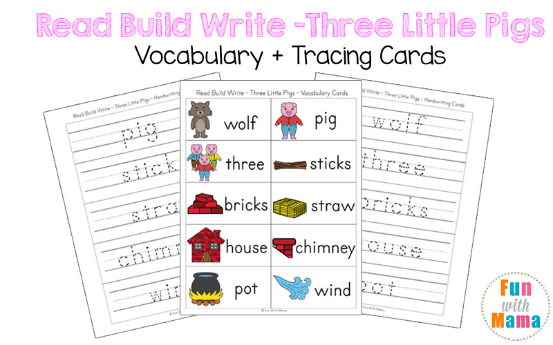 three little pigs vocabulary cards
