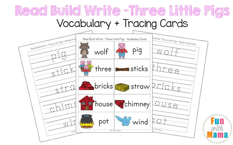 three little pigs vocabulary cards