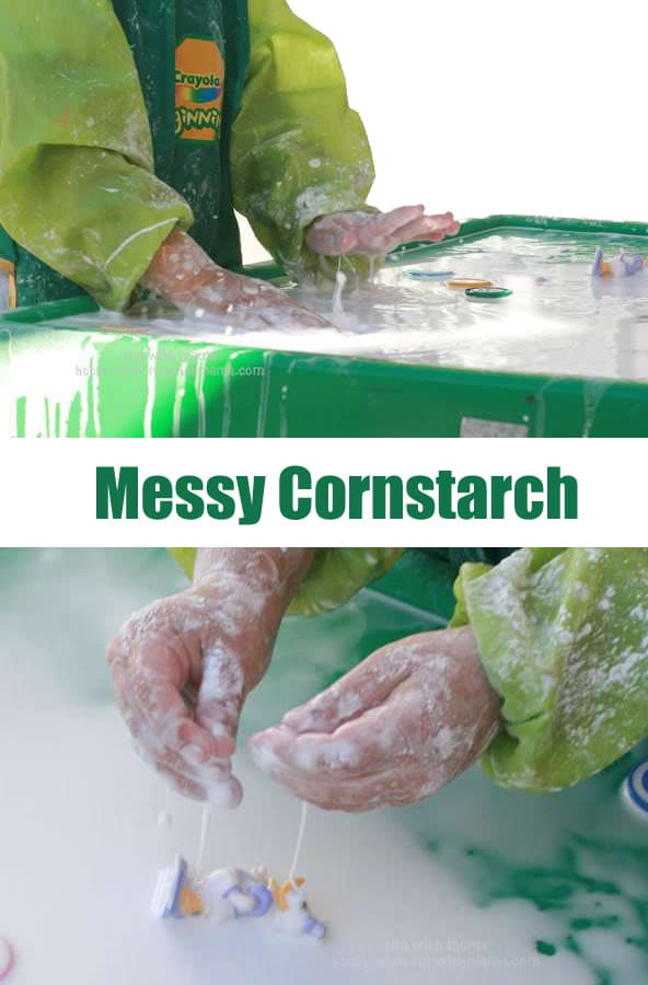 Messy cornstarch is a wonderful activity for a baby, a toddler and older kids who love messy play. It is a wonderful edible sensory experience.
