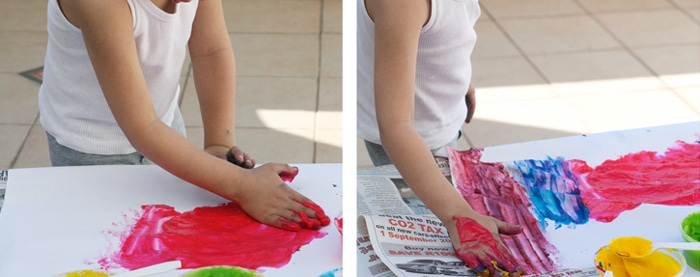 homemade finger paint with flower