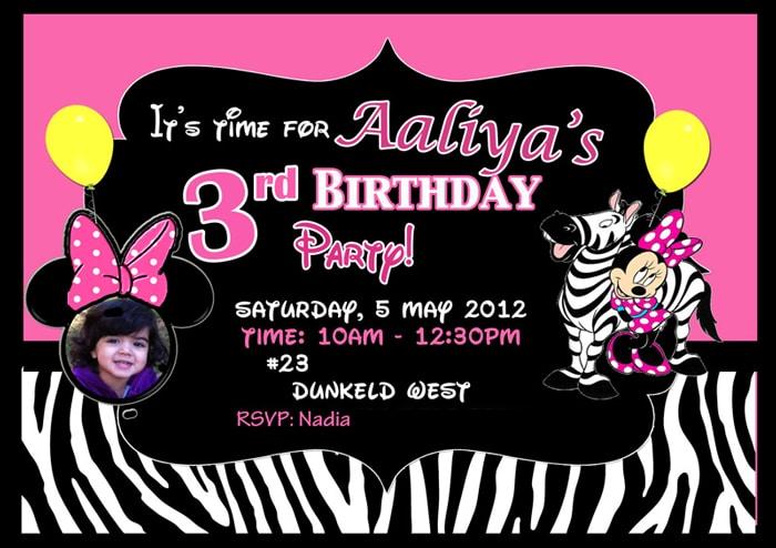 Minnie Mouse Zebra Themed 3rd Birthday Party Minniemousebirthdayinvite