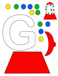 g for gum ball machine printable letter activity