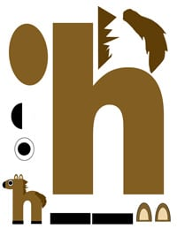 h for horse printable letter activity