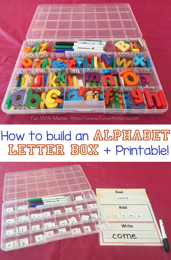 Steps on how to make an alphabet letter box for kids that are wonderful for teaching children how to spell, teaching toddlers about the alphabet sounds, and is a wonderful reading and writing tool.