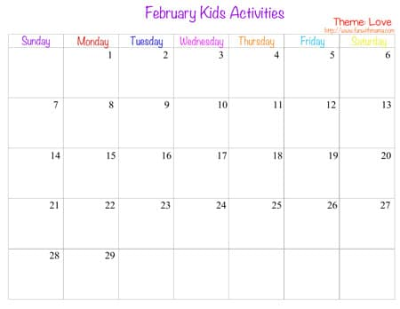 february kids activities calendar and curriculum of a schedule of our activities for my toddler and elementary aged kids art and craft projects