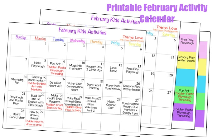 february activity calender print 4 customizable kids activity calendar - Kids Activities Print