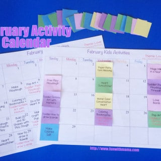 Kids Activity February 2016 Customizable Printable Calendar