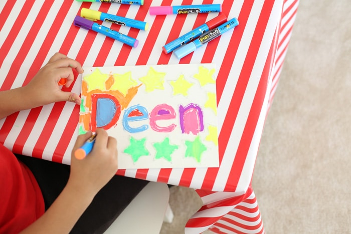 Canvas Name Kids Activity with Fun Chalk Markers makes a beautiful and vibrant frame.