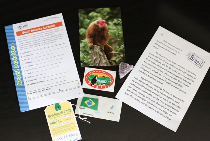 Here is a detailed post that reviews the items and activities that are included in the monthly subscription Box Little Passports World Edition Traveler Kit and first country Brazil mail.