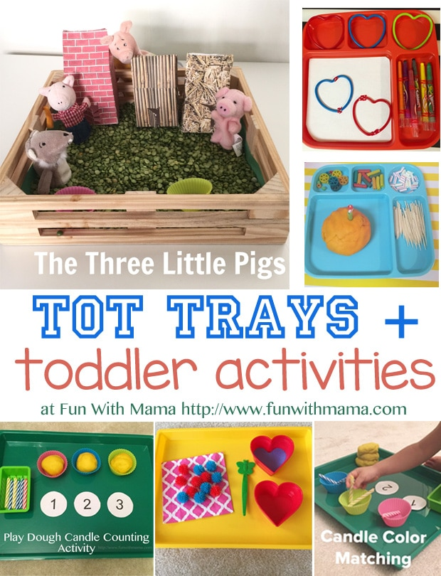 Here is a look at the toddler Tot Trays and Activities that we did this week that were fun and educational including transferring, learning numbers and counting, play dough fun, and more!