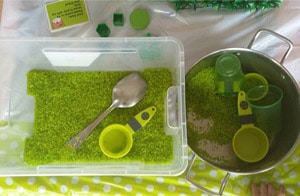 shapes rice sensory bin