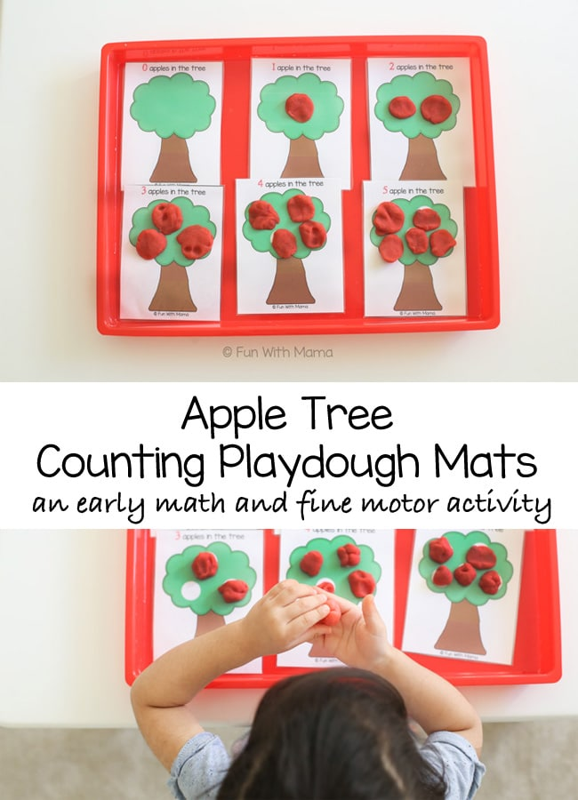 Toddler and preschool early math play dough counting activity. This activity is great for improving pincer grip, visual perception and fine motor skills.