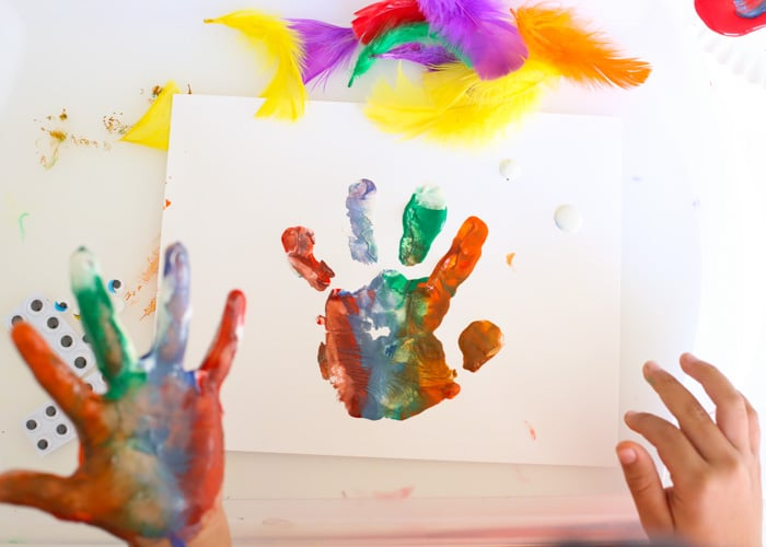 Fancy Monster Finger Paint Hand Prints - Fun with Mama