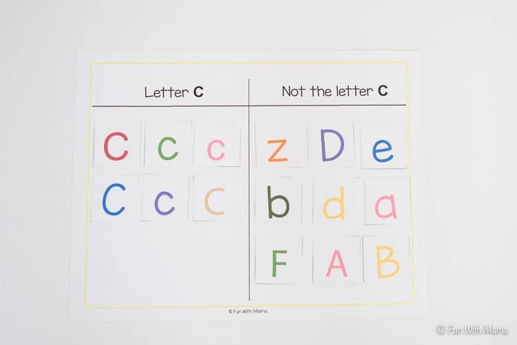 letter c sorting printable