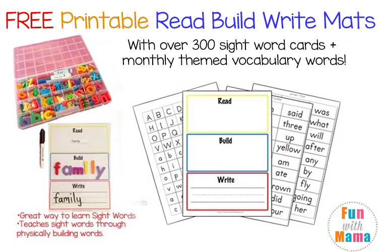 Read Build Write on Kindergarten To Learn For Free
