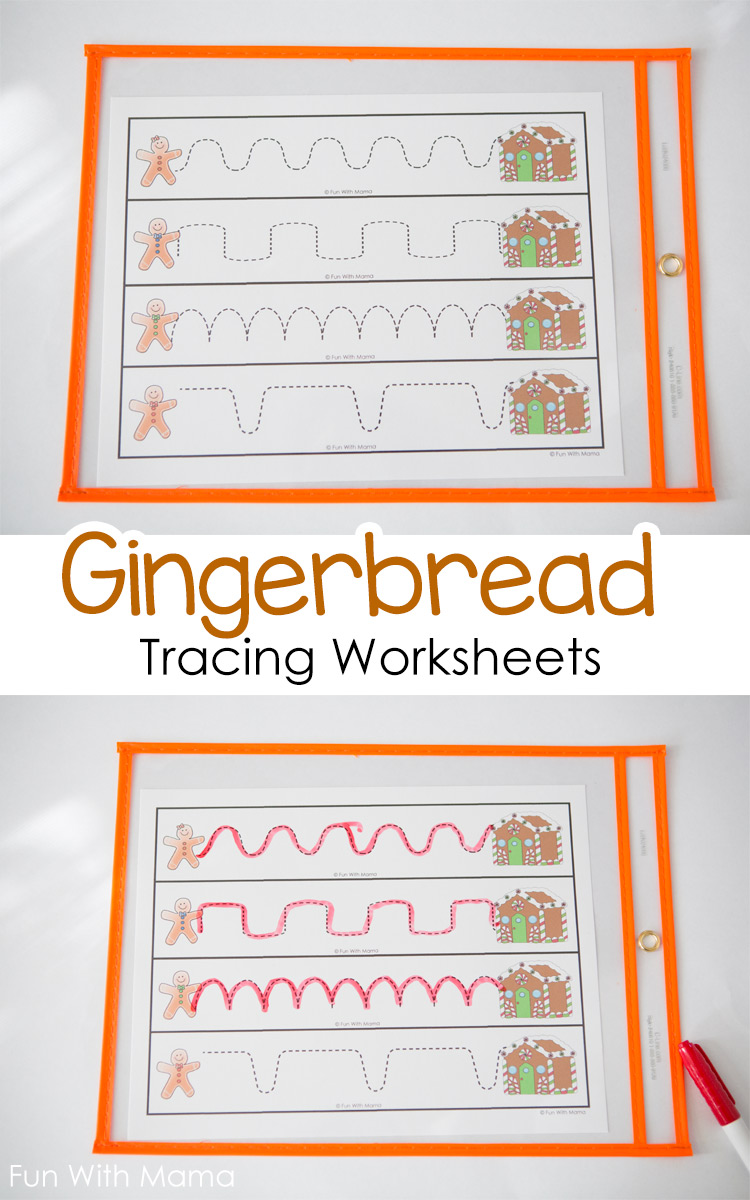 Workbooks prewriting strokes worksheets : Gingerbread Tracing Worksheets - Fun with Mama