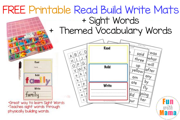 free read build write mats templates and sight words