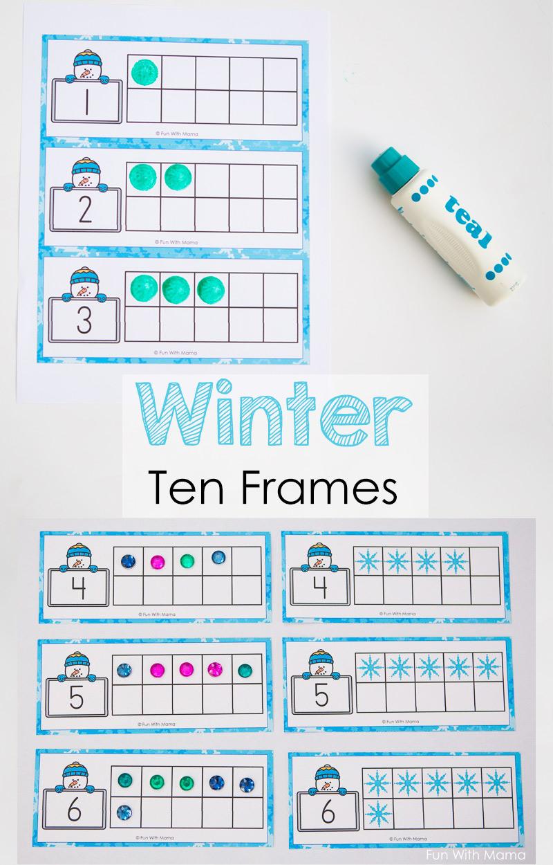 Snowman Winter Ten Frame Printable - Fun with Mama
