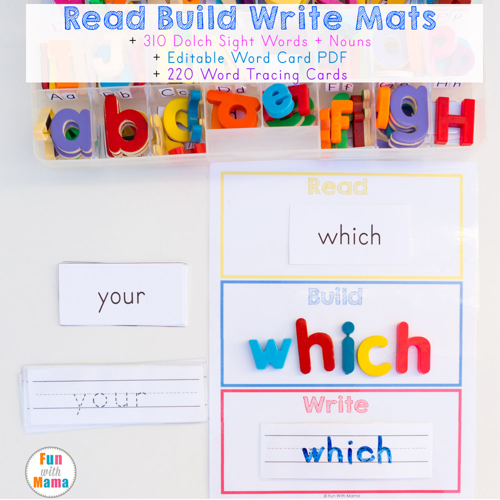 read build write mats with dolch sight words editable pdf and tracing cards