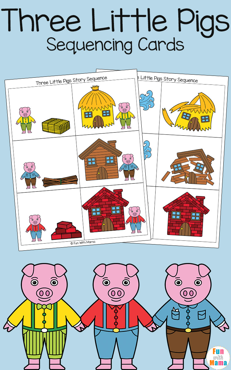 Three Little Pigs Sequencing Cards - Fun with Mama