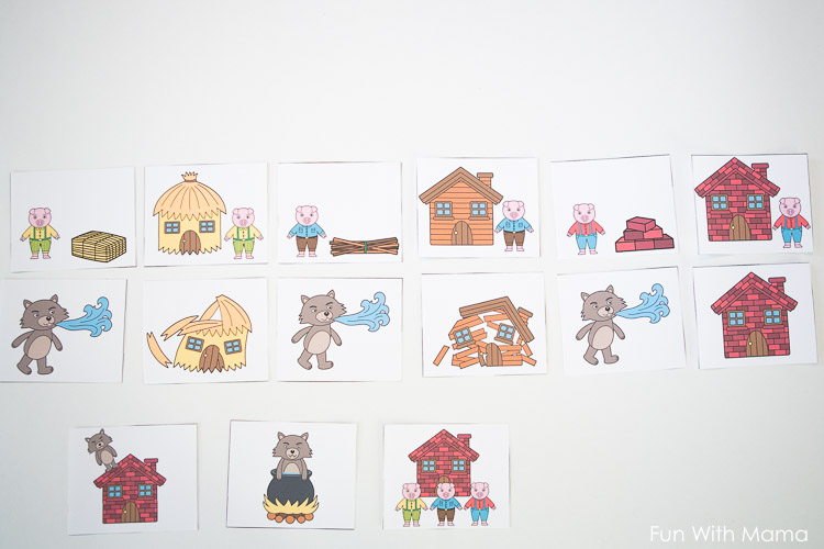 three little pigs printable sequencing cards