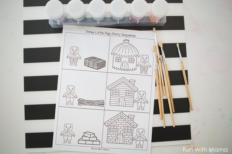 Colouring Pages For Toddlers Alphabet : Little pigs craft sequencing coloring pages fun with mama