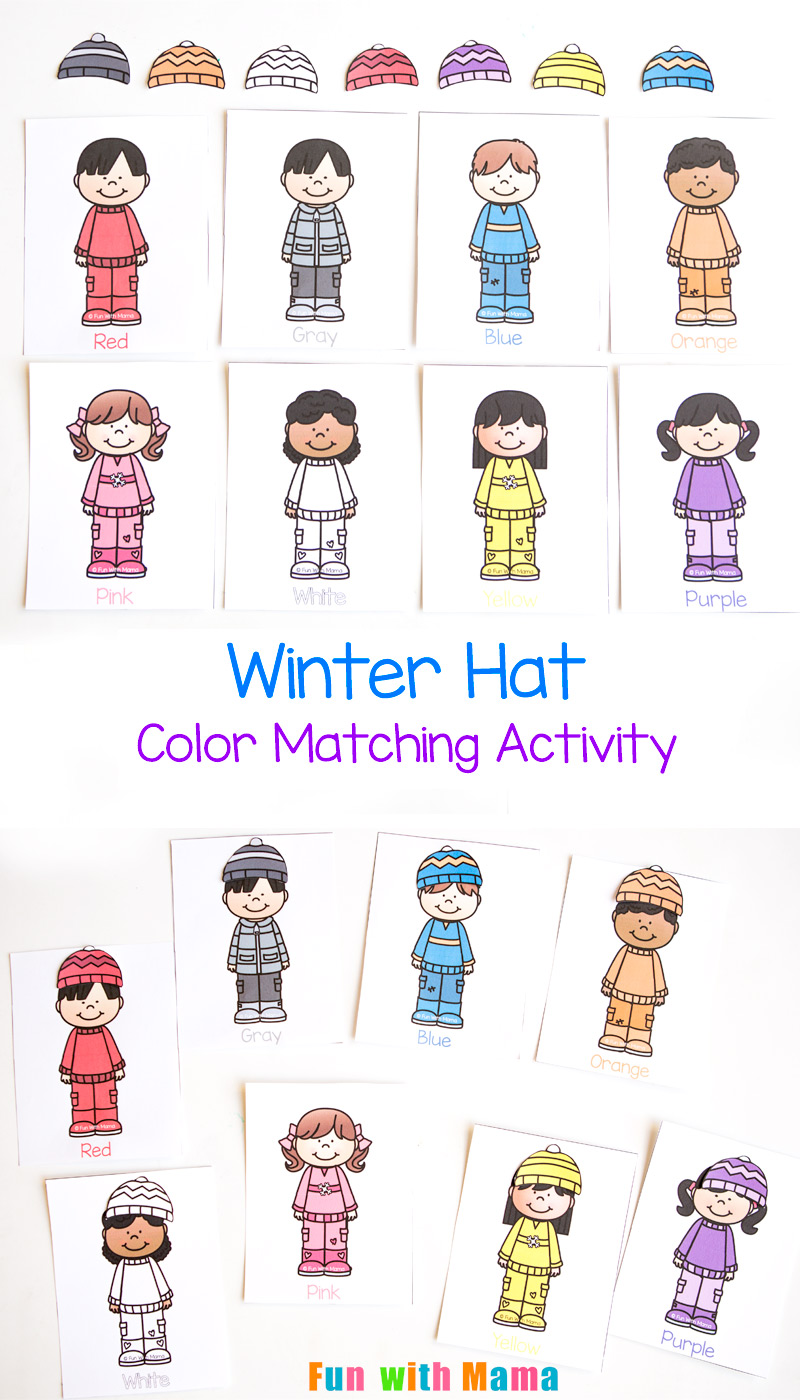 Winter Hat Color Matching Activity For Toddlers Fun With Mama