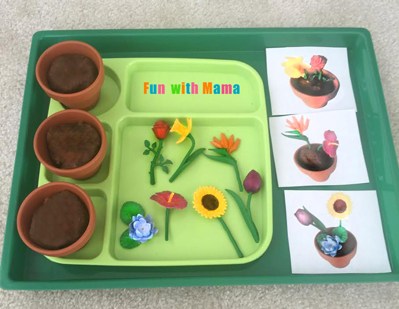 Preschool spring flower planting play dough activity fun with mama 2 years old when we did this activity i set out to make it a little easier for her by having the pots all ready for her to work with the flowers mightylinksfo