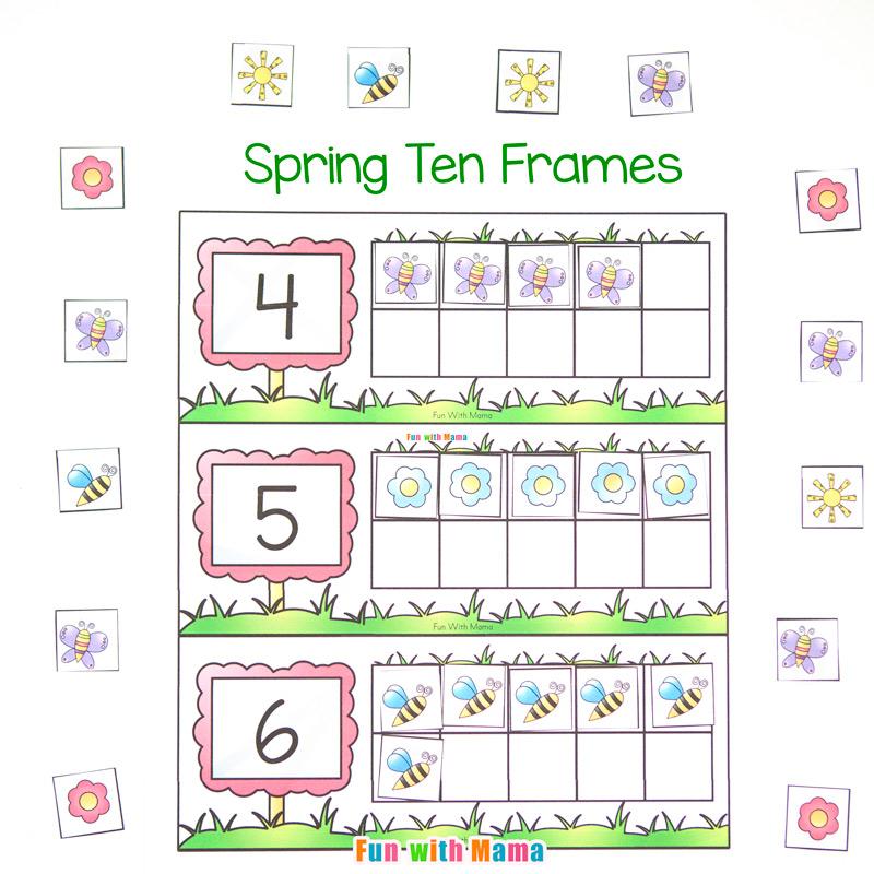 Spring Ten Frame Printable - Fun with Mama