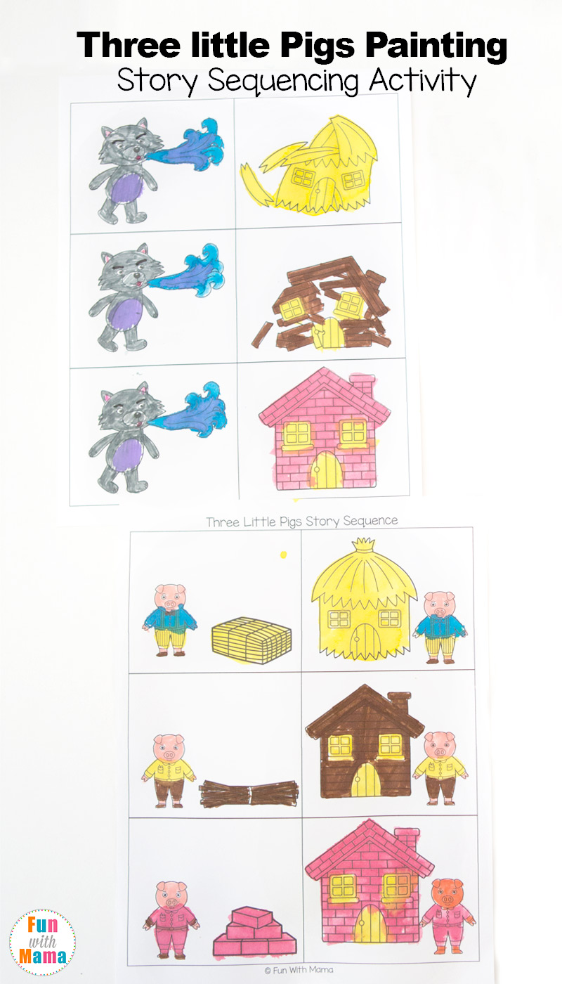 3 little pigs craft sequencing coloring pages fun with mama. Black Bedroom Furniture Sets. Home Design Ideas