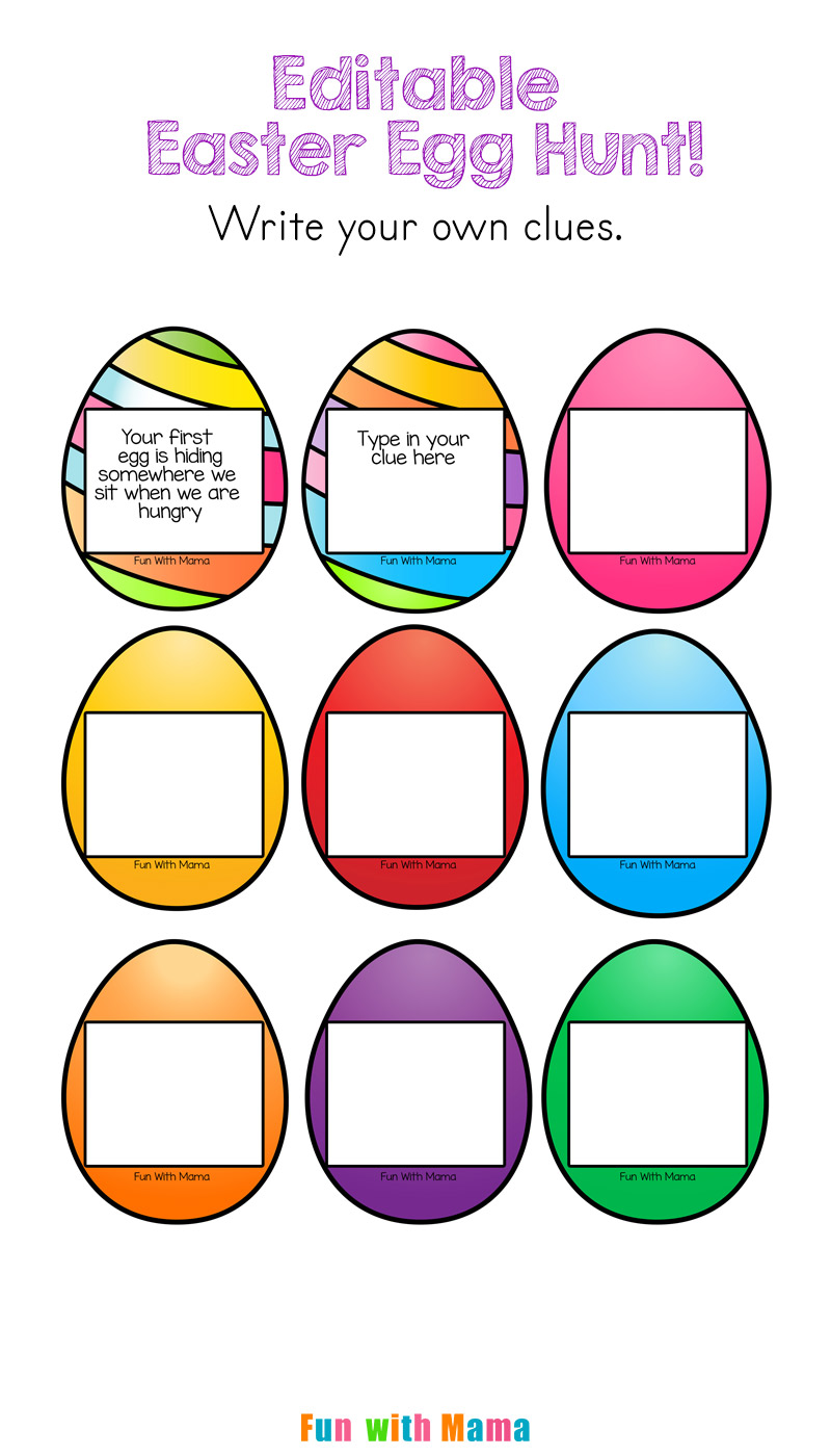 editable easter egg scavenger hunt - fun with mama