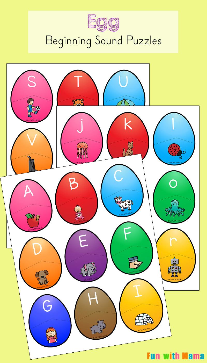 Alphabet Beginning Letter Sound Match Eggs - Fun with Mama