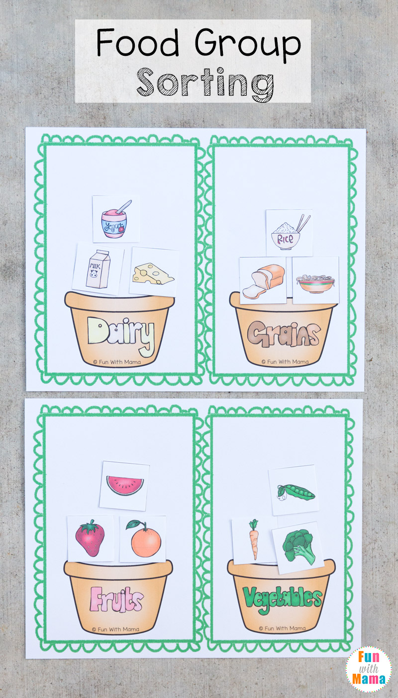 Food Group Sorting Printable Activity on printable color and sorting food groups