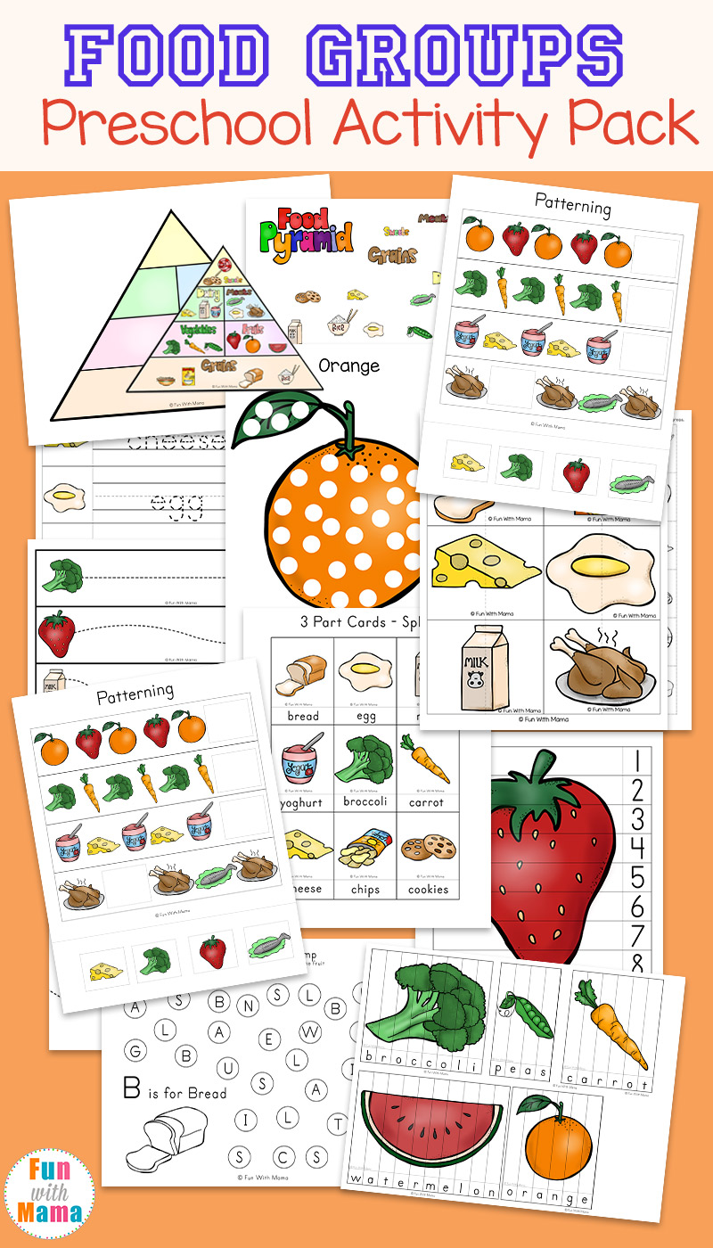 Food Groups Preschool Activity Pack Fun with Mama