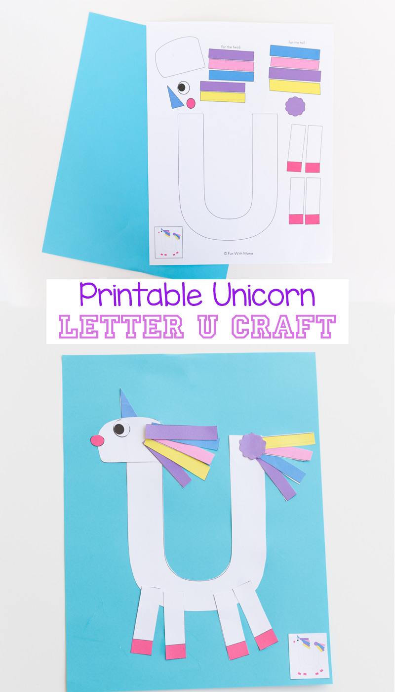 Printable Letter U Craft Unicorn - Fun with Mama