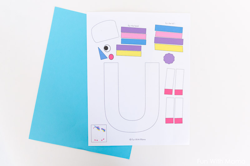 Printable letter u craft unicorn fun with mama letter crafts for toddlers spiritdancerdesigns Choice Image