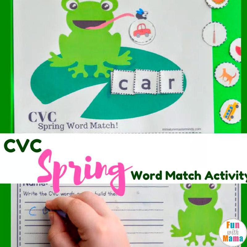Free Printable CVC Spring Word Matching Activity - Fun with Mama