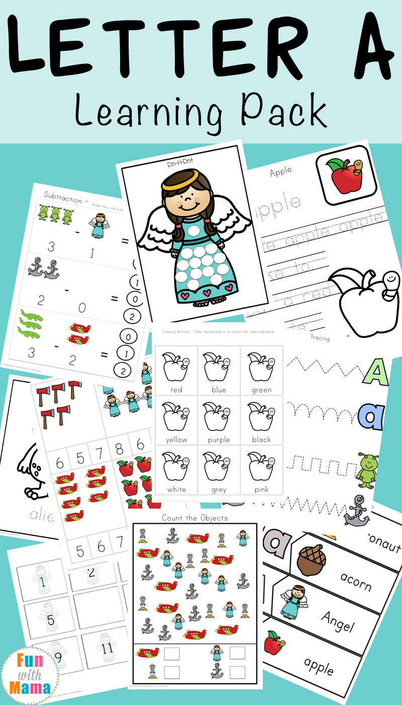 Letter A Preschool Printable Pack - Fun with Mama