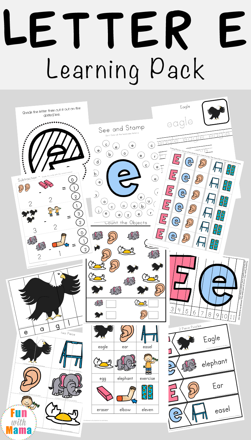 letter e worksheets activities fun with mama. Black Bedroom Furniture Sets. Home Design Ideas