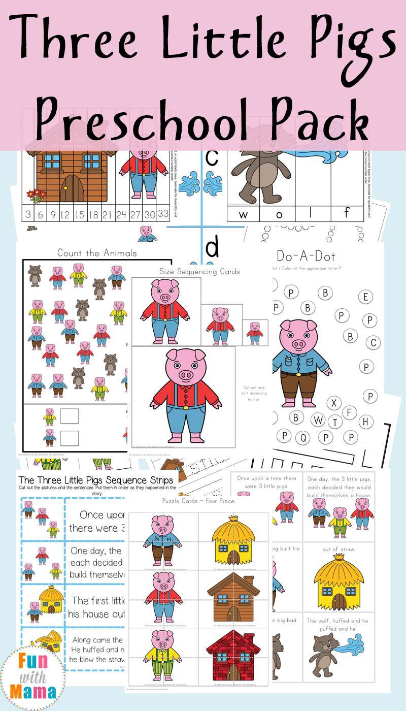 Printable Three Little Pigs Activity pack for preschool and kindergarten kids including math, retelling story cards, sequencing, patterning, and more!