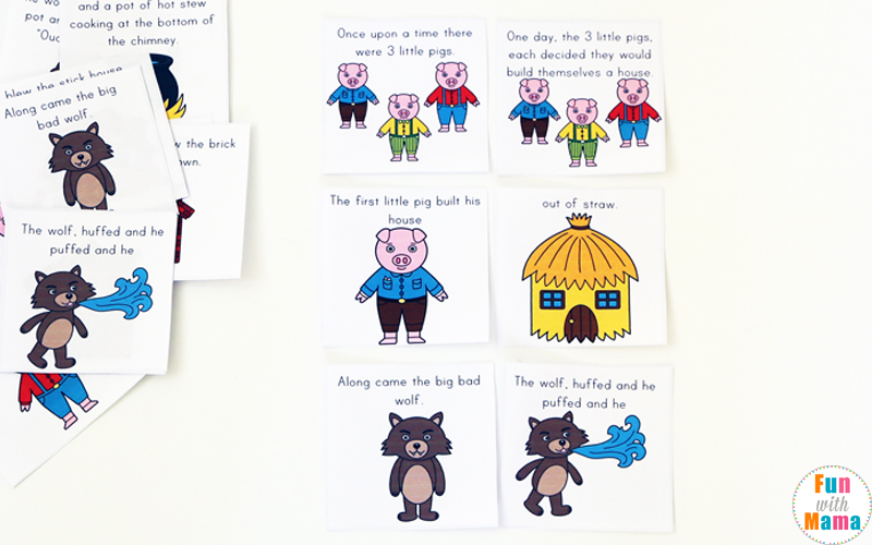 3 little pigs story cards