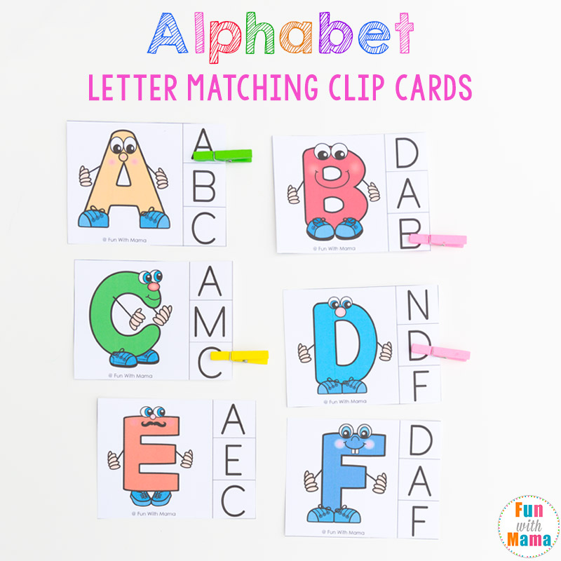 alphabet matching clip cards