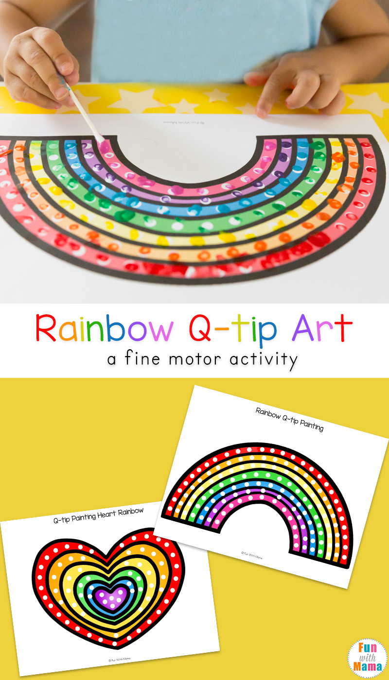 Fun Q Tip Cotton Swab Art Free Printable Activities For Preschool Kids To Work On