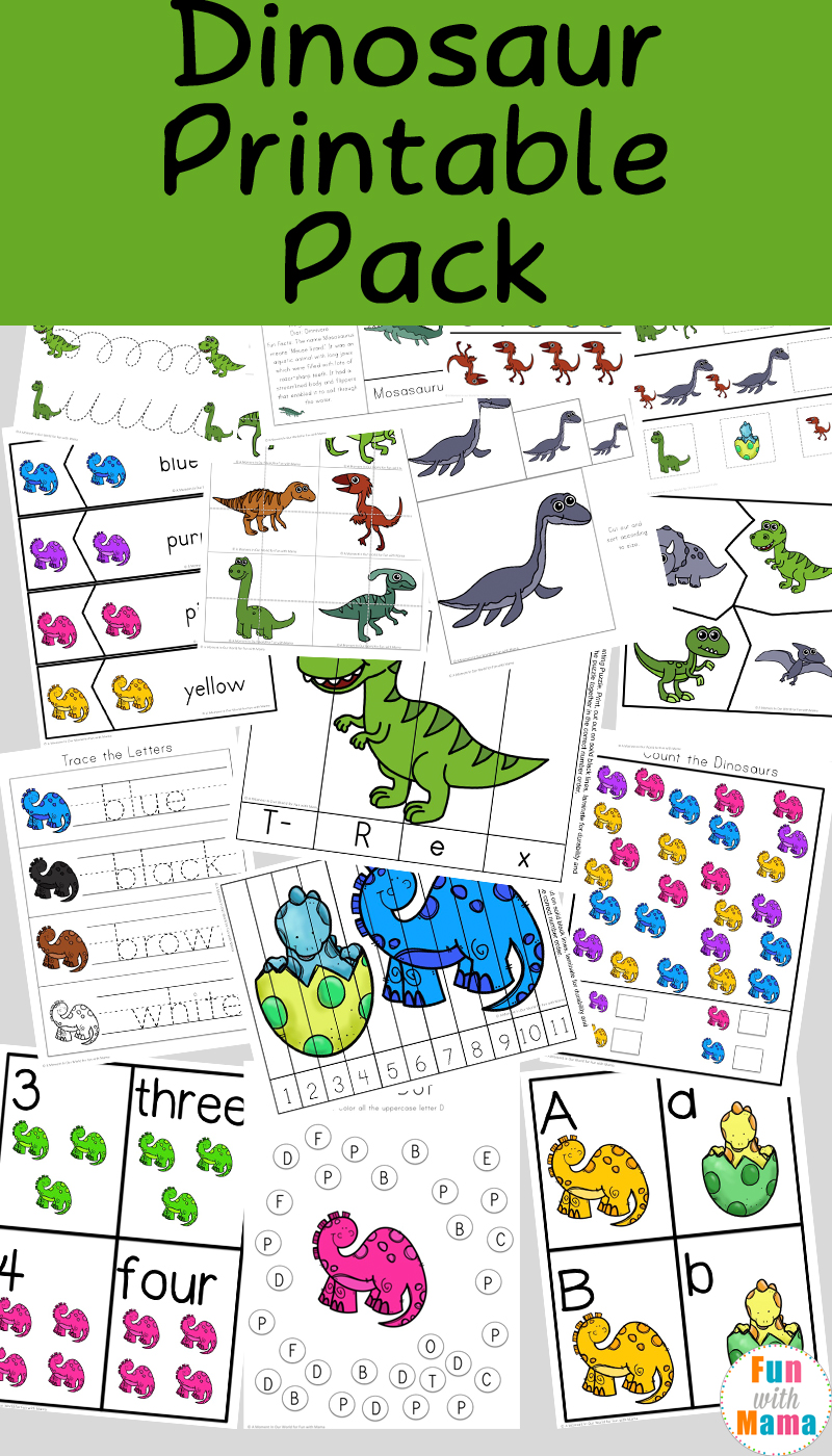 Dinosaur Preschool Printable Pack - Fun with Mama