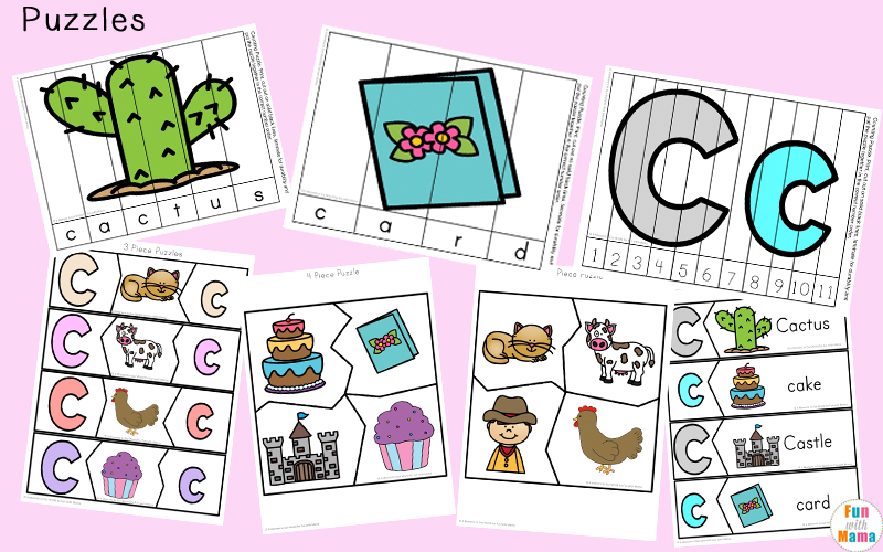 Letter c worksheets and printables pack fun with mama for Number and letter puzzles