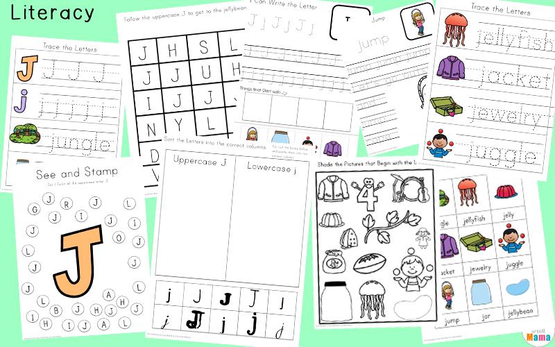 letter j tracing worksheets