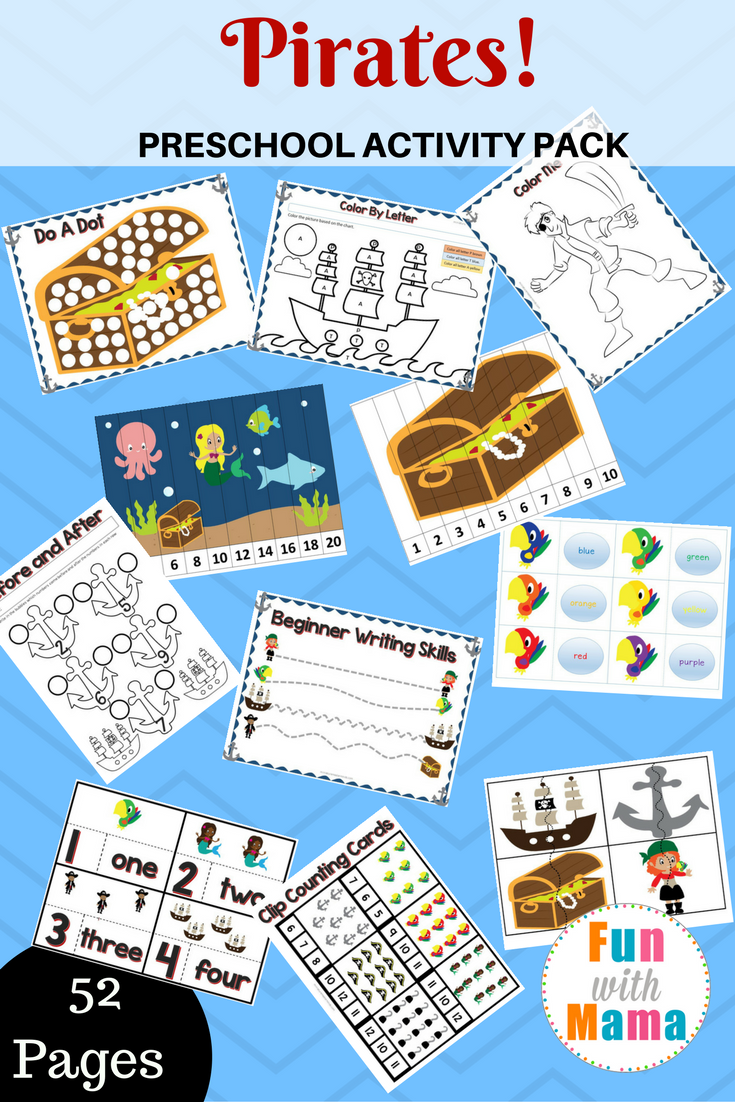 Pirate Theme Printable Preschool Pack - Fun with Mama