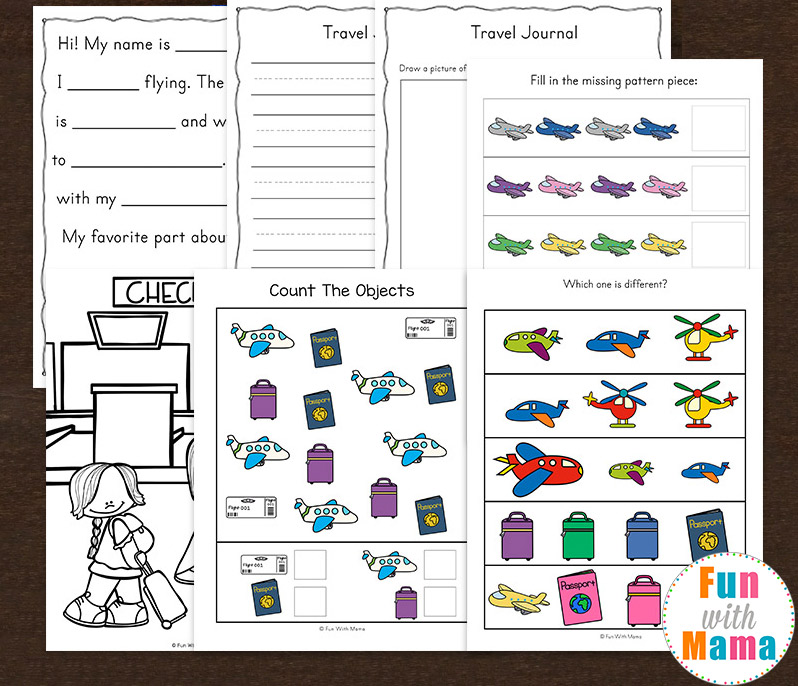 Travel Adventure Airplane Activity Book For Kids - Fun With Mama