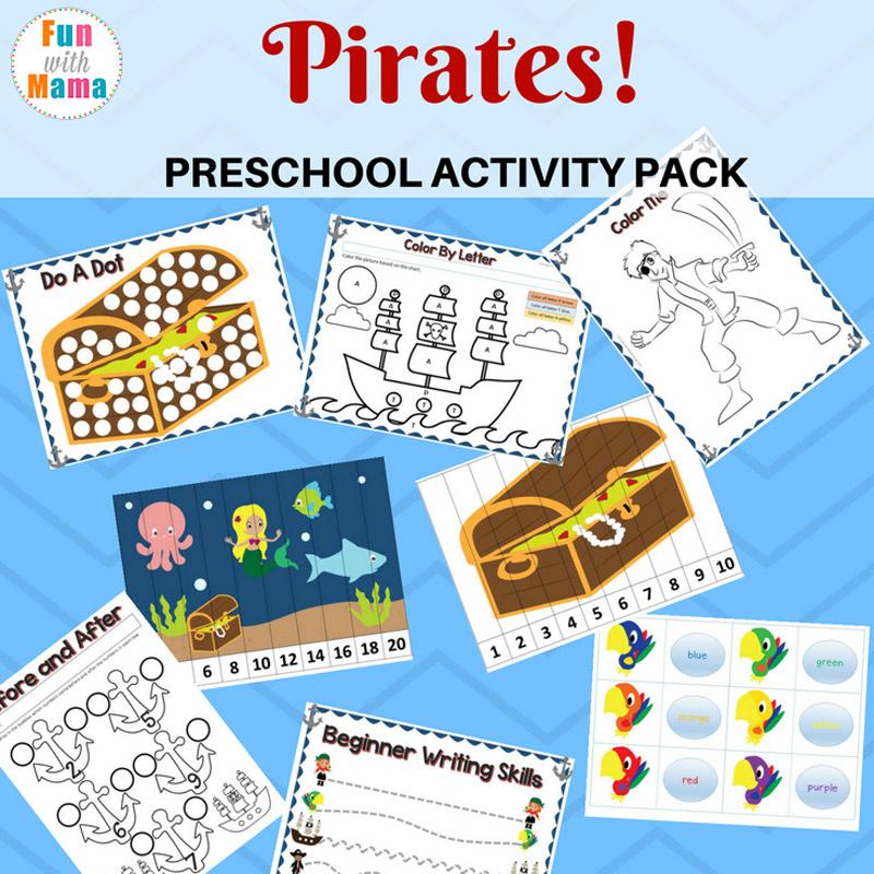 Pirate Theme Printable Preschool Pack - Fun with Mama